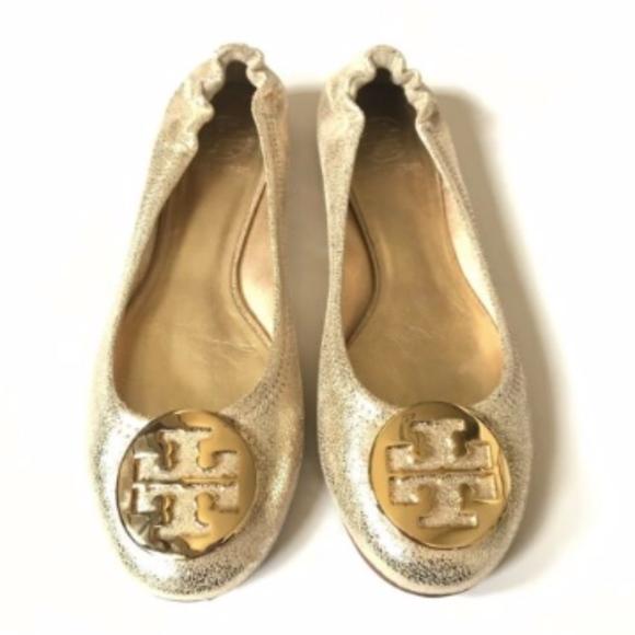 1f2aabe4dbefb Tory Burch Ballerina Reva Flats 9.5 Gold Metallic.  M 5c789530aa87700f05538e31